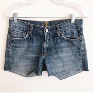 7 FAM Cut-Off Flare Fit Blue Denim Jean Shorts 26